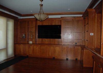 Media Room with Wooden Bookshelves