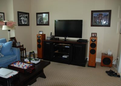 Sports Den Media Room with Dual Speakers