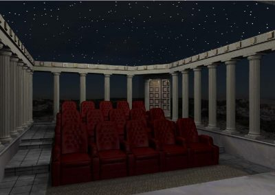 Greek Pillar Inspired Home Theater Design
