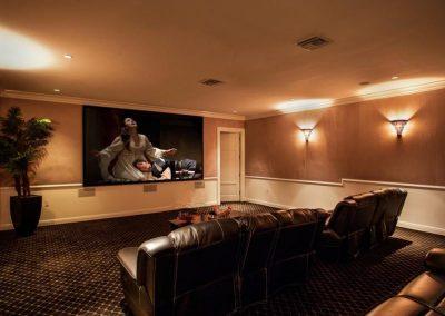Stylish Home Theater with Cinema Lighting