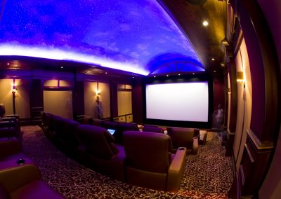 Comfortable Home Theater with Overhead Lighting
